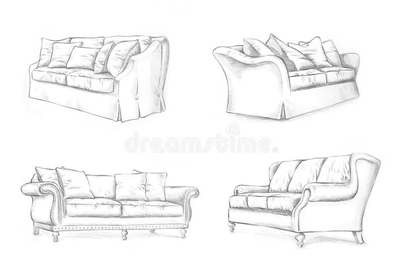 El bosquejar del sofá ilustración del vector