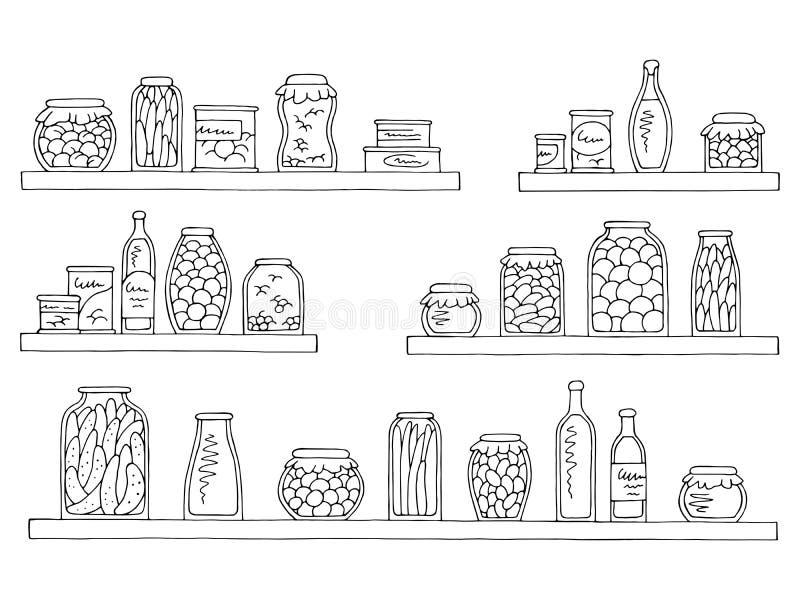 El bosquejo aislado blanco negro gráfico del sistema de los estantes puede vector del ejemplo del colmado de la comida ilustración del vector