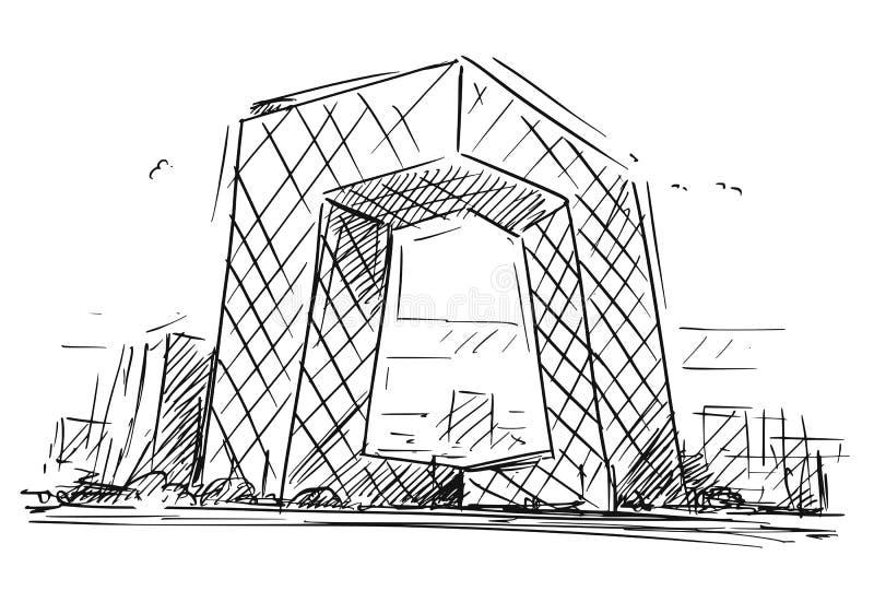 El bosquejo de la historieta de la China TV central establece jefatura del edificio, Pekín, China libre illustration