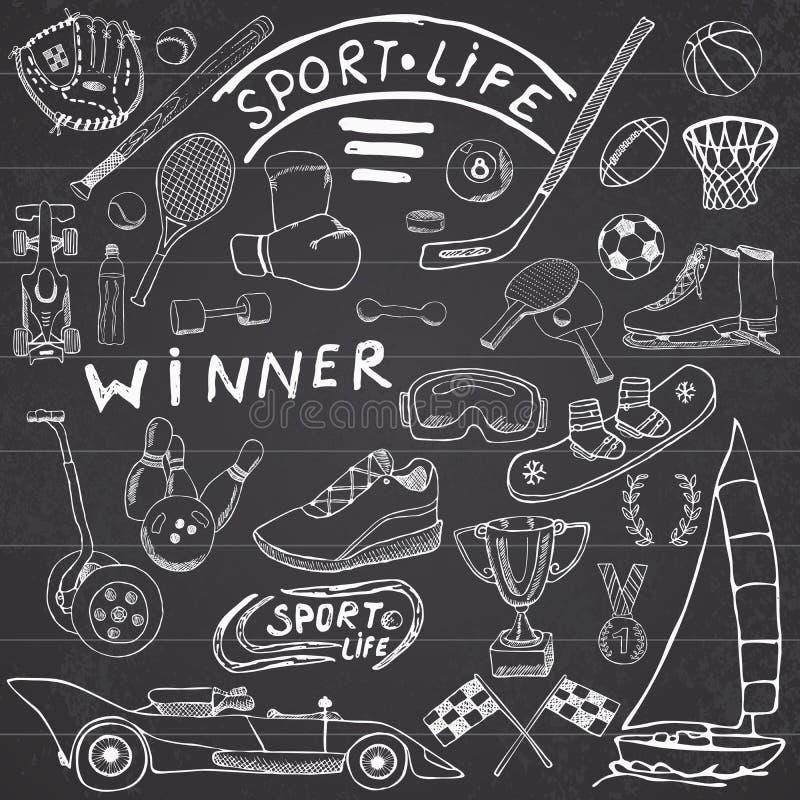 El bosquejo de la vida del deporte garabatea elementos Sistema dibujado mano con el bate de béisbol, guante, bolos, artículos del ilustración del vector
