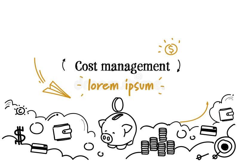 El bosquejo del concepto de la gestión del coste del análisis financiero garabatea el espacio aislado horizontal de la copia ilustración del vector