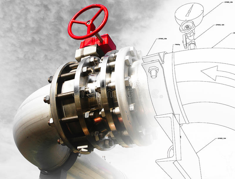 El bosquejo del diseño de la tubería se mezcló con el equipo industrial imágenes de archivo libres de regalías