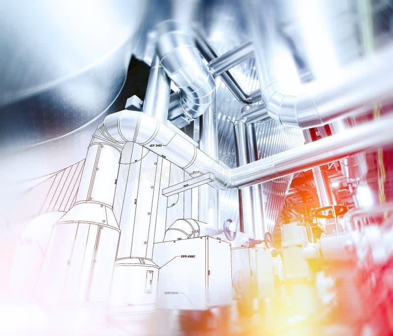 El bosquejo del diseño de la tubería se mezcló con la foto del equipo industrial imágenes de archivo libres de regalías