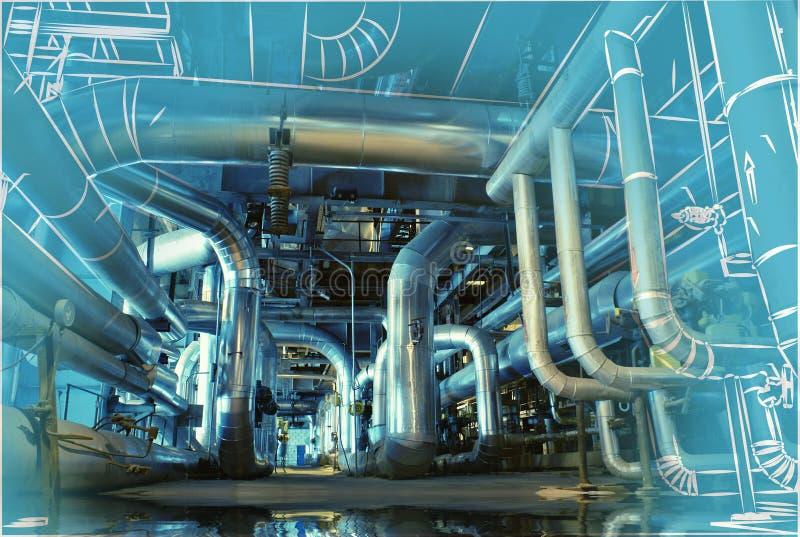 El bosquejo del diseño de la tubería se mezcló a la foto de la central eléctrica fotos de archivo