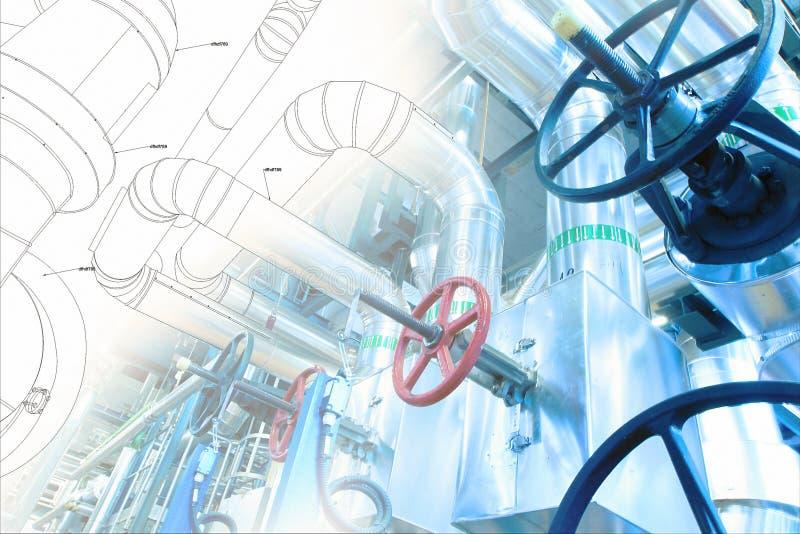 El bosquejo del diseño de la tubería se mezcló a la foto del equipo industrial foto de archivo