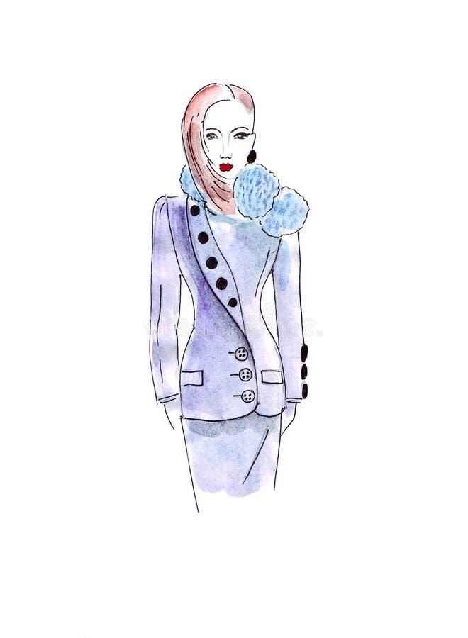 El bosquejo del ejemplo de la hembra con el pelo rojo y la moda se visten con un cuello bajo la forma de bolas con los botones en stock de ilustración