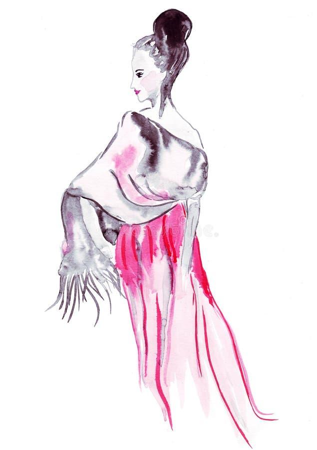 El bosquejo del ejemplo del pelo femenino torció en un bollo y un cabo sus hombros ilustración del vector