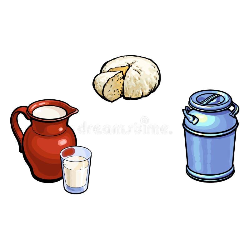 El bosquejo del vector leche-puede ordeñar el vidrio de la jarra, queso ilustración del vector