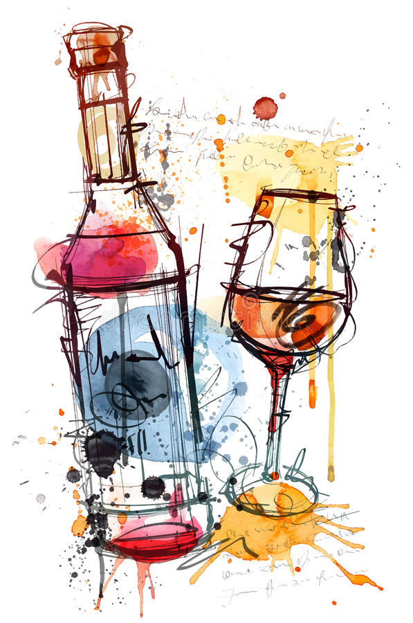 El bosquejo del vino rojo ilustración del vector