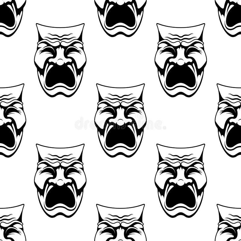 El bosquejo dramático del garabato enmascara el fondo inconsútil ilustración del vector