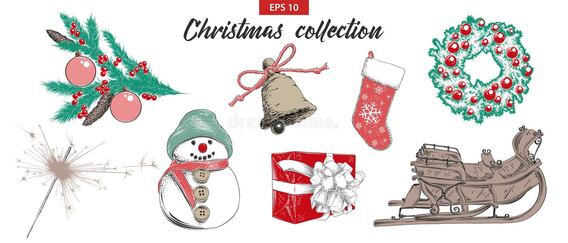 El bosquejo exhausto de la mano fijó los objetos del día de fiesta de la Navidad y del Año Nuevo aislados en el fondo blanco Dibu libre illustration
