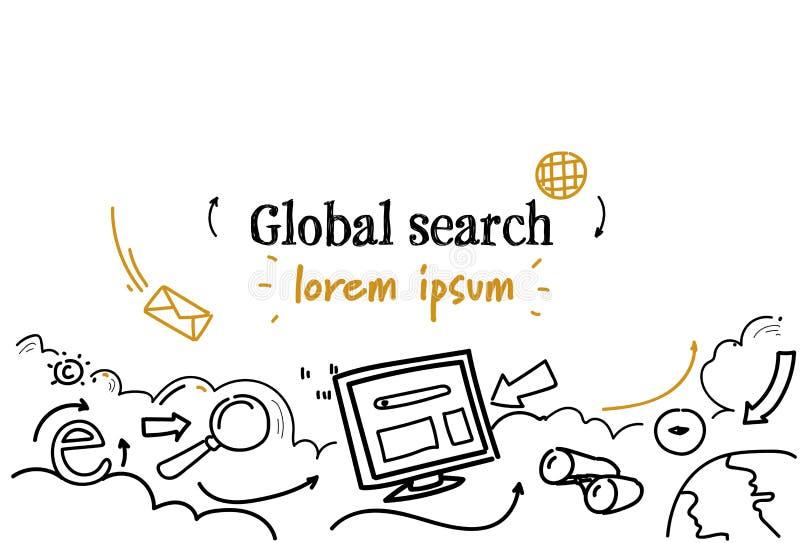 El bosquejo global del concepto de la búsqueda del explorador Web garabatea el espacio aislado horizontal de la copia stock de ilustración