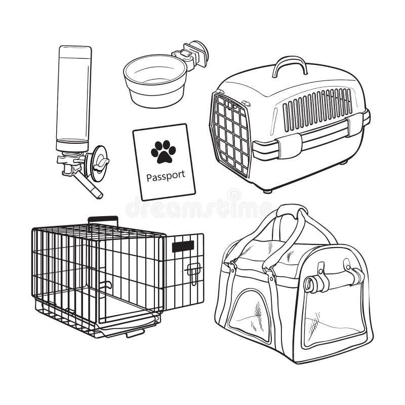 El bosquejo, transporte dibujado mano del animal doméstico, viaje fijó en el fondo blanco ilustración del vector