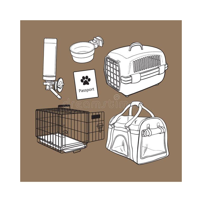 El bosquejo, transporte dibujado mano del animal doméstico, viaje fijó en el fondo blanco libre illustration
