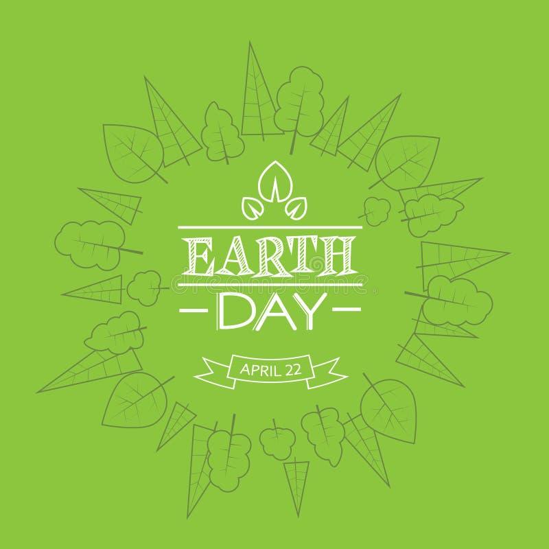 El bosquejo verde de la planta del árbol del globo del mundo del Día de la Tierra enrarece la línea stock de ilustración