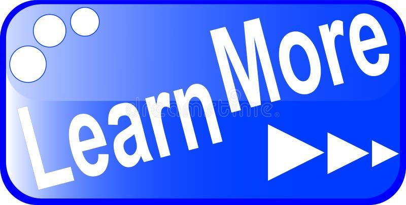 El botón azul del Web del Internet APRENDE MÁS icono ilustración del vector