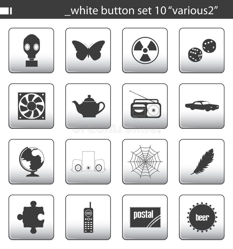 El botón blanco fijó 10 stock de ilustración