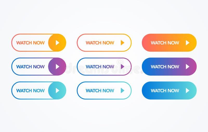 El botón colorido del reloj del ejemplo del vector ahora fijó en el fondo blanco Línea plana colección del botón de la pendiente  libre illustration