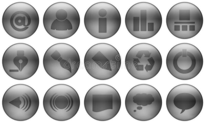El botón de cristal fijó 1. ilustración del vector