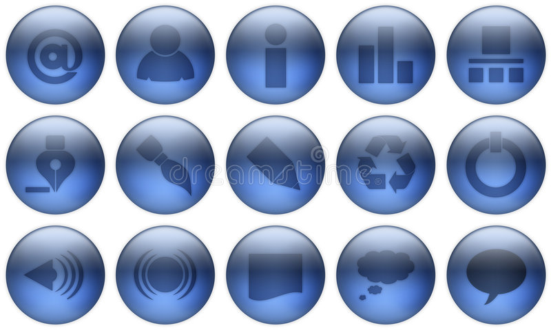 El botón de cristal fijó 1. stock de ilustración