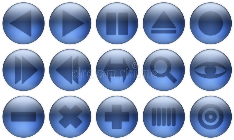 El botón de cristal fijó 2 stock de ilustración
