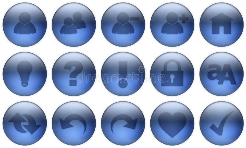 El botón de cristal fijó 3 stock de ilustración
