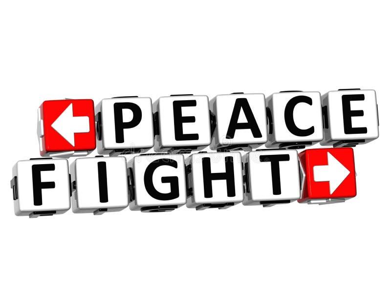 el botón de la lucha de la paz 3D hace clic aquí el texto del bloque libre illustration