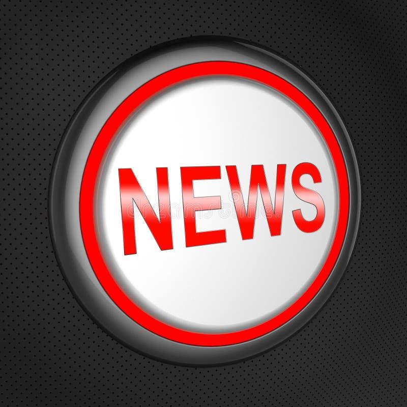 El botón de las noticias significa el ejemplo global de los títulos 3d stock de ilustración