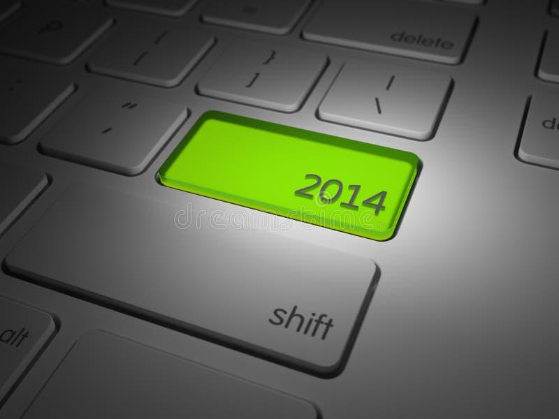 El botón de los nuevo 2014 años destacado imágenes de archivo libres de regalías