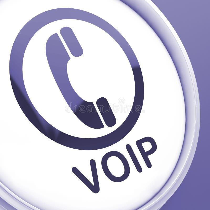 El botón de Voip significa voz sobre protocolo IP stock de ilustración