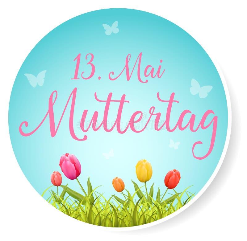 13 El botón del día del ` s de la madre de Mai Muttertag Happy aisló vector ilustración del vector