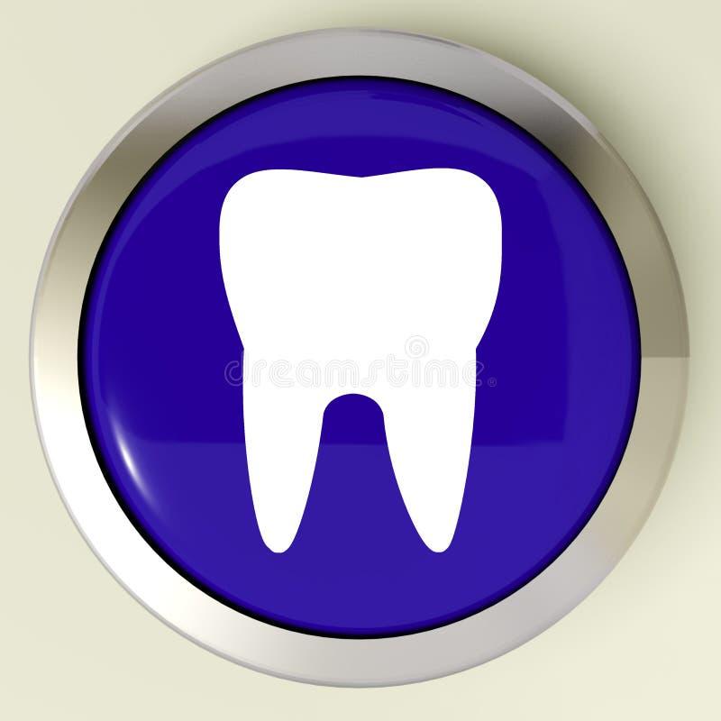 El botón del diente significa la cita dental o los dientes ilustración del vector