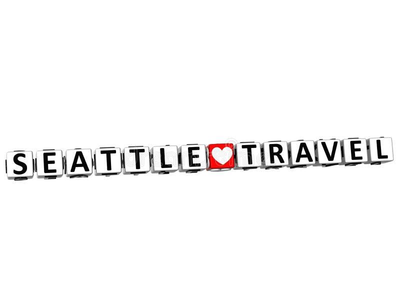 el botón del viaje del amor de 3D Seattle hace clic aquí el texto del bloque ilustración del vector