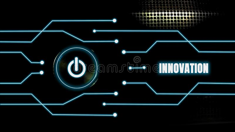 El bot?n encendido-apagado brilla intensamente en un fondo negro y las l?neas azules con concepto de la innovaci?n, el desarrollo imágenes de archivo libres de regalías