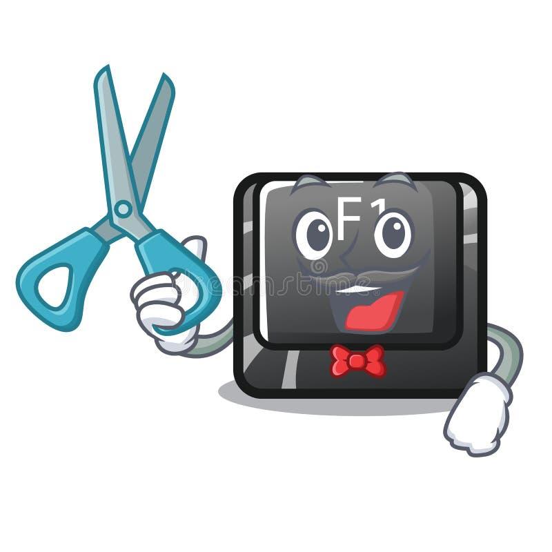 El botón f1 del peluquero aisló en la mascota libre illustration