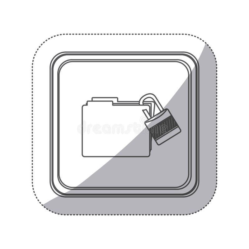 el botón monocromático del cuadrado de la silueta de la etiqueta engomada con el paclock del ingenio de la carpeta se cerró stock de ilustración
