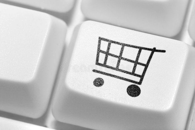 El botón para las compras en el teclado. Departamento en línea. fotografía de archivo