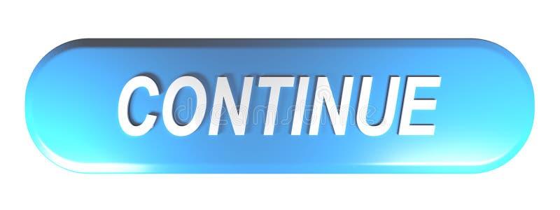 El botón redondeado azul del rectángulo CONTINÚA - el ejemplo de la representación 3D stock de ilustración