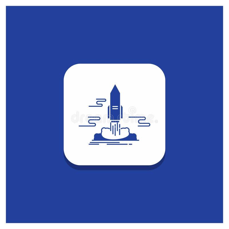 El botón redondo azul para el lanzamiento, publica, App, lanzadera, icono del Glyph del espacio ilustración del vector