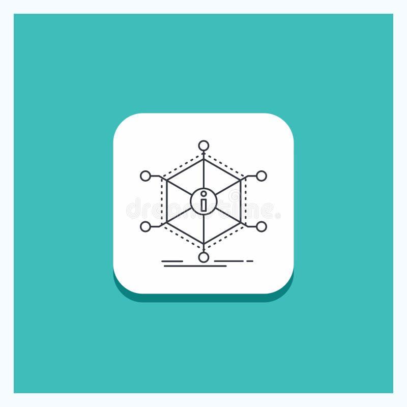 El botón redondo para los datos, ayuda, información, información, recursos alinea el fondo de la turquesa del icono ilustración del vector