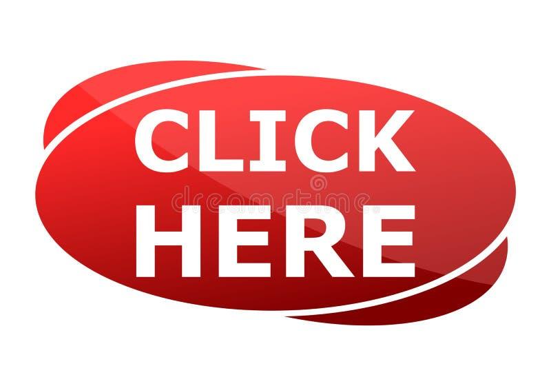 El botón rojo hace clic aquí libre illustration