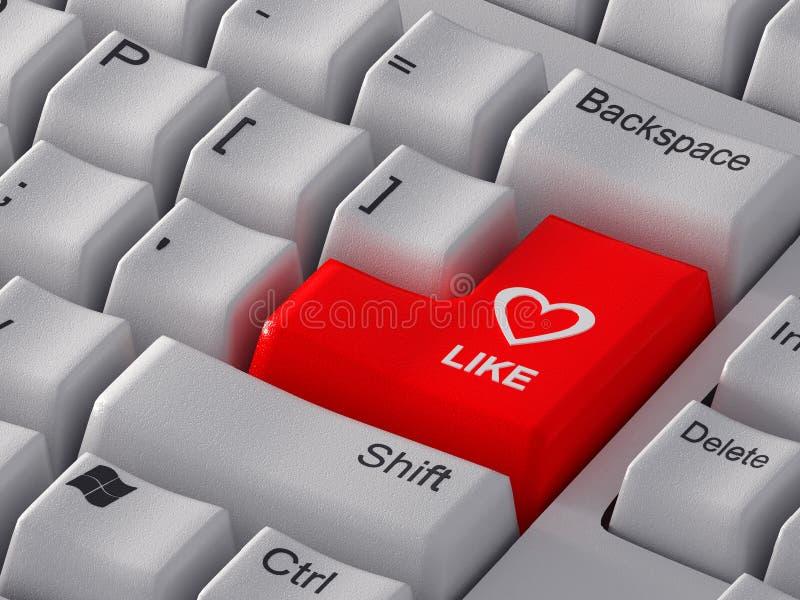 El botón rojo tiene gusto con un corazón. stock de ilustración