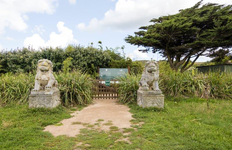El botanique de Vauville de Jardin, es un jardín botánico privado cerca de Beaumont-La Haya en Vauville Normandía, Francia imagen de archivo