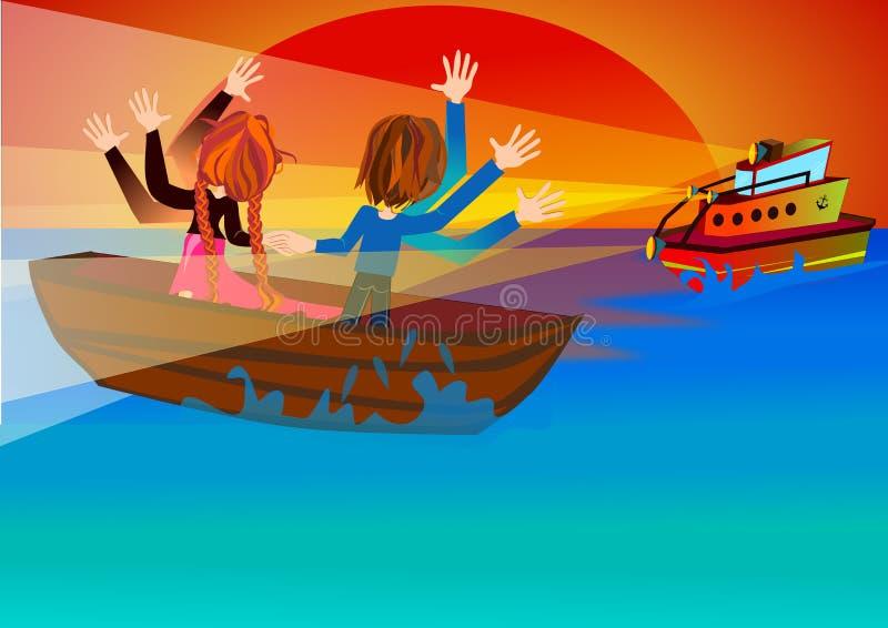 El bote de salvamento está viniendo stock de ilustración