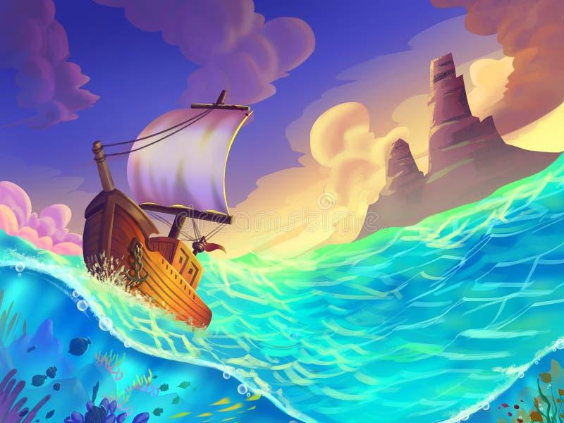 El bote pequeño cogido en una tormenta en el mar stock de ilustración