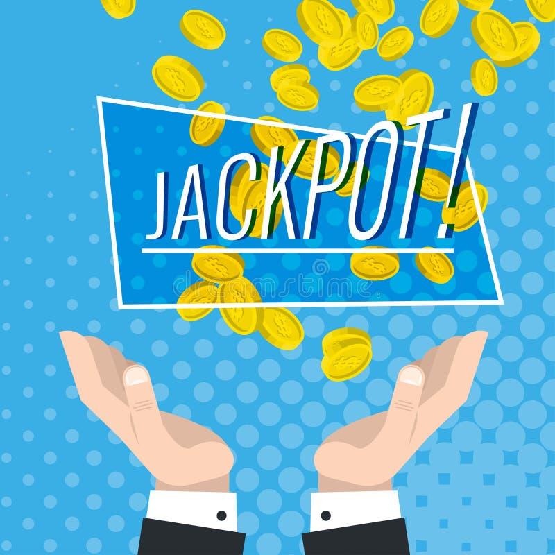 El bote y la suerte financiera, monedas de oro bajan en las manos aumentadas ilustración del vector