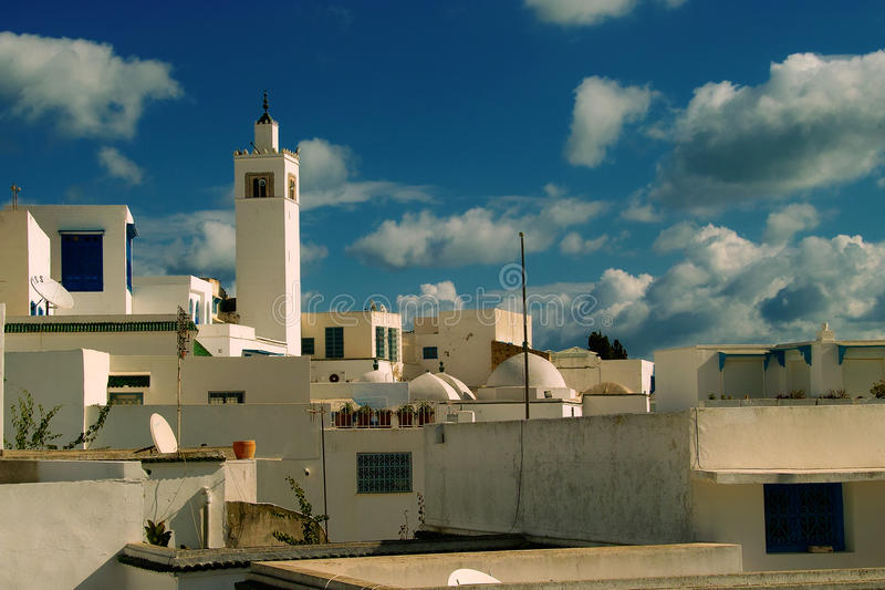 El bou de Sidi dijo/pueblo azul y blanco foto de archivo libre de regalías