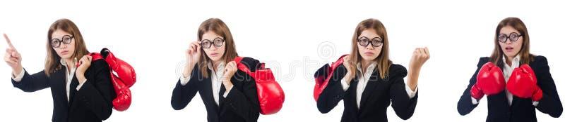 El boxeador de sexo femenino divertido del empleado aislado en blanco foto de archivo libre de regalías