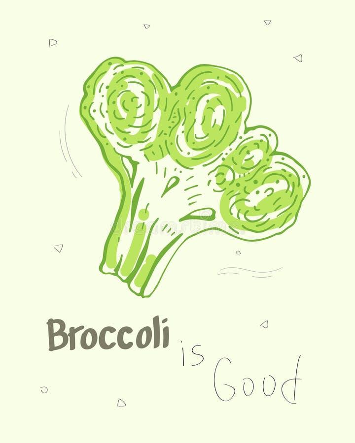 El bróculi es bueno Ejemplo lindo del vector de la historieta stock de ilustración