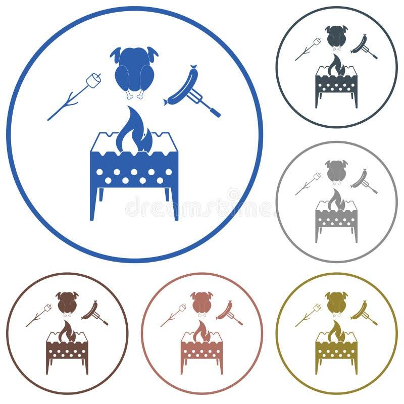 El brasero, céfiro, chicen e icono de la salchicha libre illustration